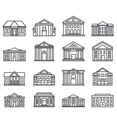 city courthouse icons set outline style vector image