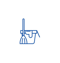 cleaning servicebucket with a broom line icon vector image