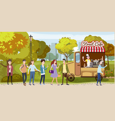 coffee track van cart barista track happy vector image
