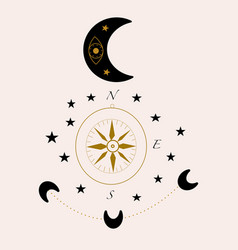 compass and celestials vector image