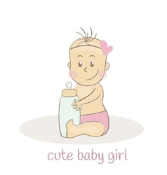 Cute little baby girl Newborn baby icon vector image