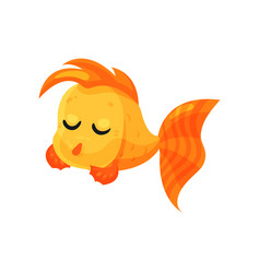 cute pensive goldfish with closed eyes funny fish vector image
