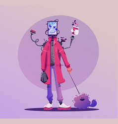 cyborg character design robot with a pet cartoon vector image