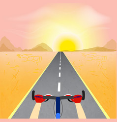 cyclist riding through a desert landscape towards vector image