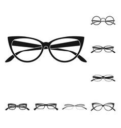 Design of glasses and frame icon set of vector