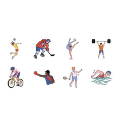 Different kinds of sports icons in set collection vector