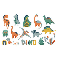 Dino cute set with animal baby vector