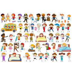 Diverse children set on white background vector