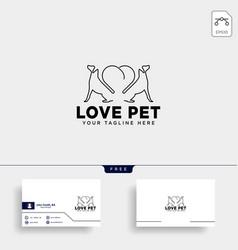 Dog pet animal line art style logo template icon vector