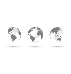 earth globes set on white background with shadows vector image