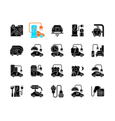 Electric vehicle charging black glyph icons set vector