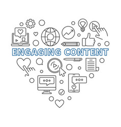 Engaging content concept linear heart vector
