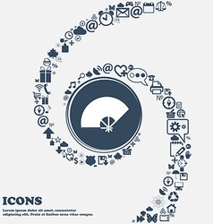 Fan icon in the center Around the many beautiful vector image