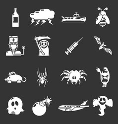 Fears phobias icons set grey vector