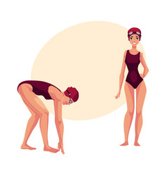 Female swimmer in swimming suit cap goggles vector