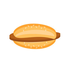 Flat burger with chop and sesame icon vector