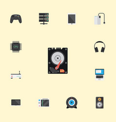 Flat icons slot machine monitor earphones and vector