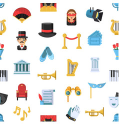 flat theatre icons pattern or background vector image