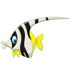 funny black and white angel fish cartoon vector image vector image