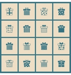Gift boxes icons set in beige and blue vector image