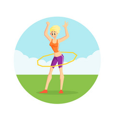 girl twirling hula hoop around her waist in nature vector image