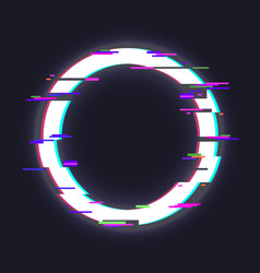 glitched circle frame vector image