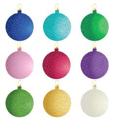 Glitter christmas ornaments vector