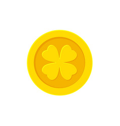 golden coin with four leaf clover isolated vector image