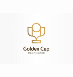golden cup first place creative symbol concept vector image