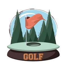 Golf club emblem with hole flag vector