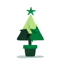 green christmas pine tree recycle symbol concept vector image