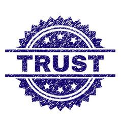 Grunge textured trust stamp seal vector