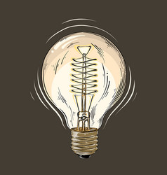 hand drawn sketch of lightbulb in color isolated vector image