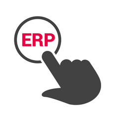 Hand presses the button with text erp vector