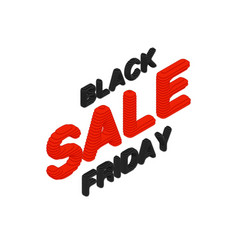 Isometric black friday sale text vector