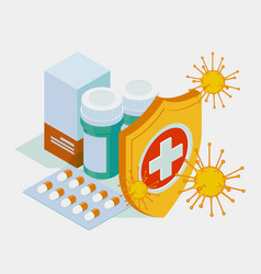 Isometric pills tablets and medicines in plastic vector