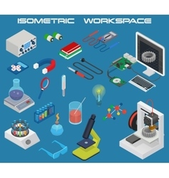 Isometric science electronics chemistry equipment vector