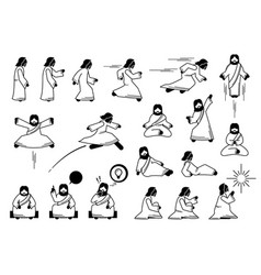 jesus christ basic action postures and poses in vector image