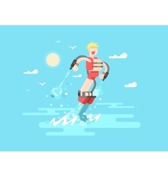 Man with flyboard vector image