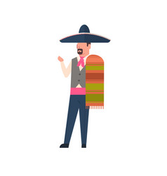 Mexico man in traditional costume and mexican vector