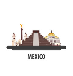 Mexico travel location vacation or trip and vector