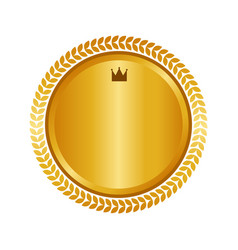 Modern gold circle metal badge label and design vector