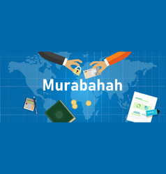 Murabahah or murabaha is islam method mark up vector