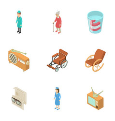 nursing home icons set isometric style vector image