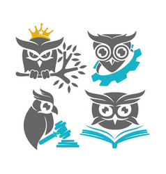 owl crow gear book law logo design template set vector image