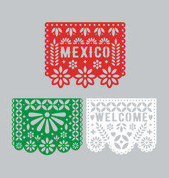 papel picado set mexican paper decorations for vector image
