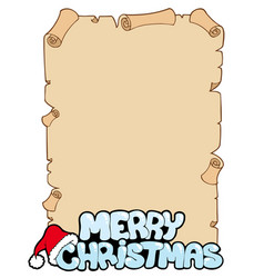 Parchment with merry christmas sign vector