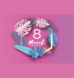 Pink blue 8 march tropical palm leaves plants vector