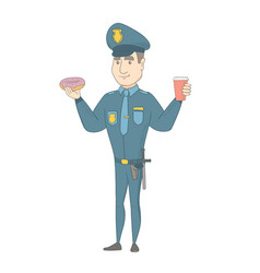 Policeman eating doughnut and drinking coffee vector