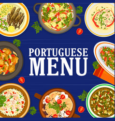 portuguese cuisine food menu meals and dishes vector image